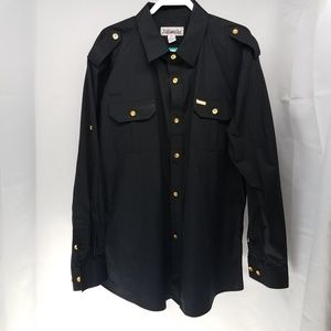 Ablanche Men's Black Button Down  Shirt 3XL